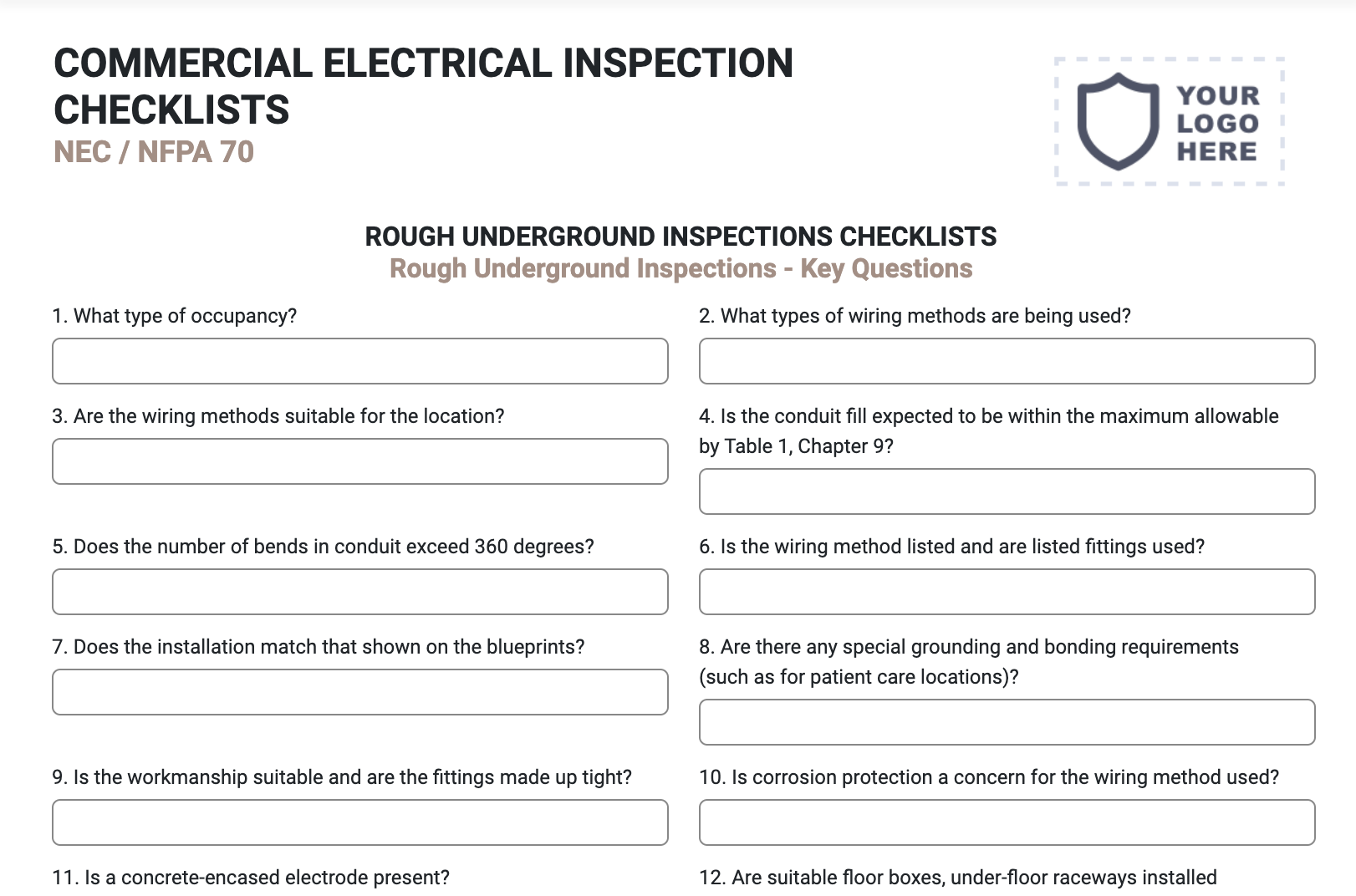 National Electrical Code NEC Inspection Form