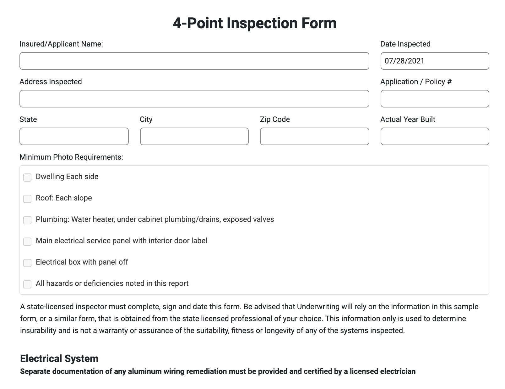 4 point home inspection form